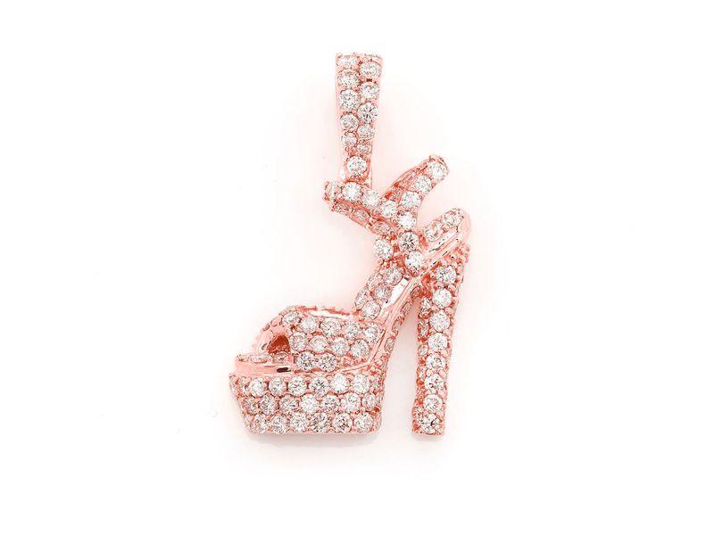 Pump Heel Shoe Pendant 14K   1.24ctw
