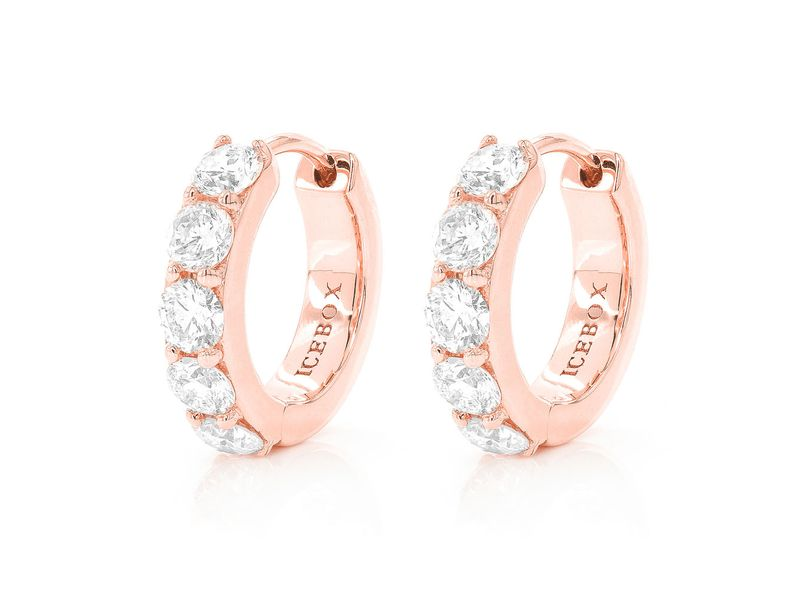 1 Row Flat Huggie Hoop Earrings 14K   0.82ctw