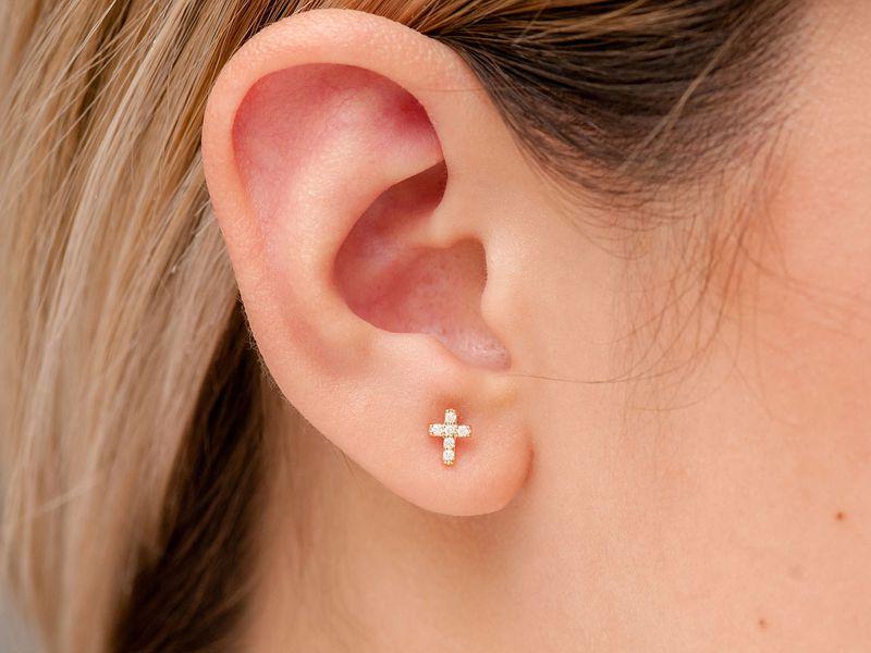 Mini Cross Earrings 14K   0.11ctw