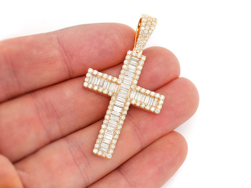 Omega Baguette Channel Cross  Pendant 14K   4.05ctw