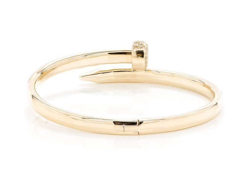 Medium Nail Bangle Half Diamond Bracelet 14k   2.50ctw
