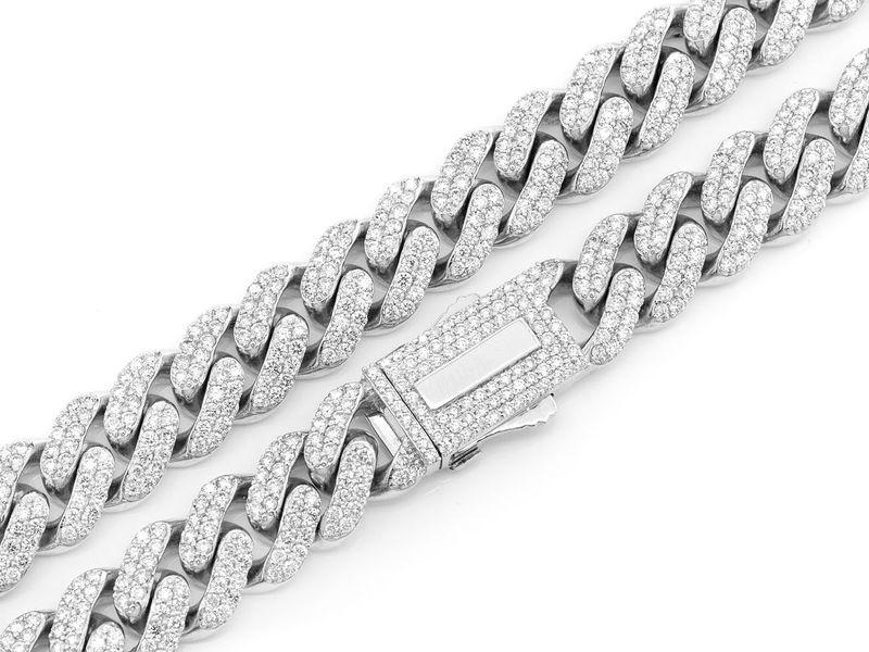 12mm Diamond Miami Cuban Necklace 14K   24.30ctw