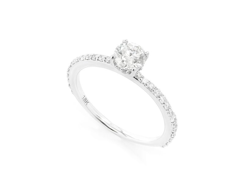 Round Under Halo Diamond Engagement Ring 18K   0.80ctw