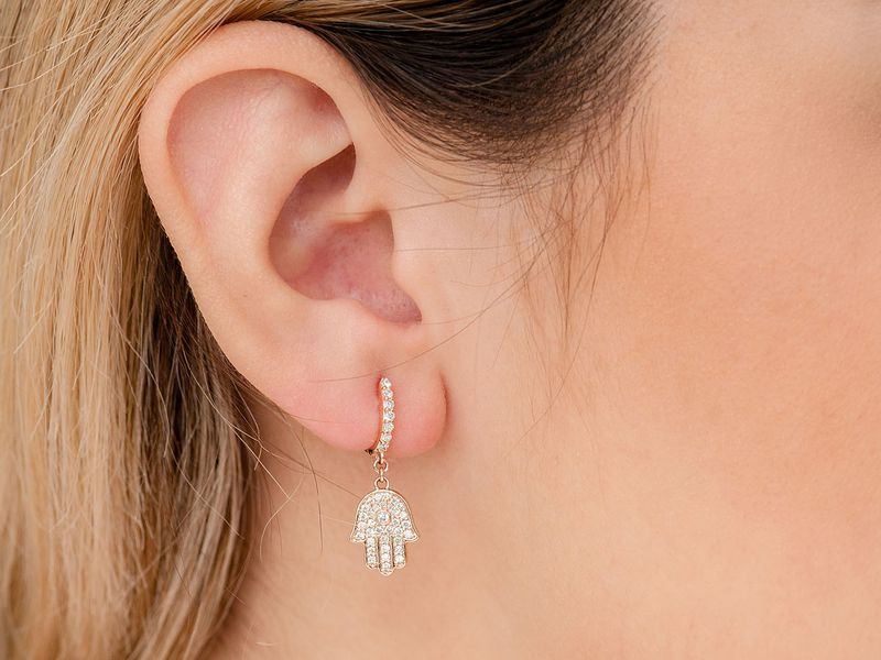 Hamsa Huggie Dangling Earrings 14K   0.56ctw