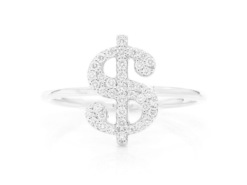 Dollar Sign Promise Ring 14K   0.21ctw