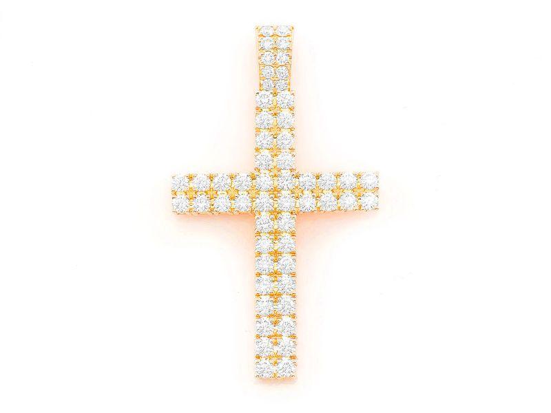 2-Row Cross Pendant 14K   2.25ctw