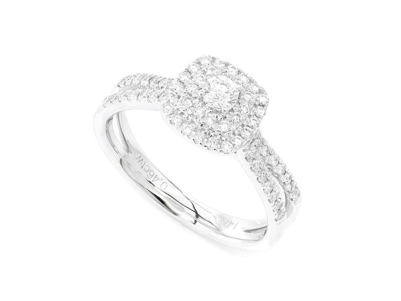Double Band Three Layer Square Engagement Ring 14K   0.46ctw