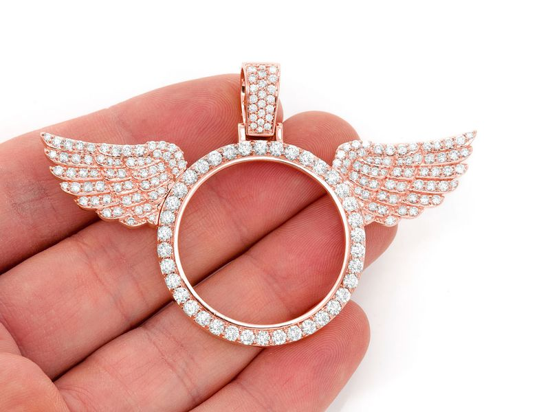Winged Picture Memory Pendant 14k   6.34ctw