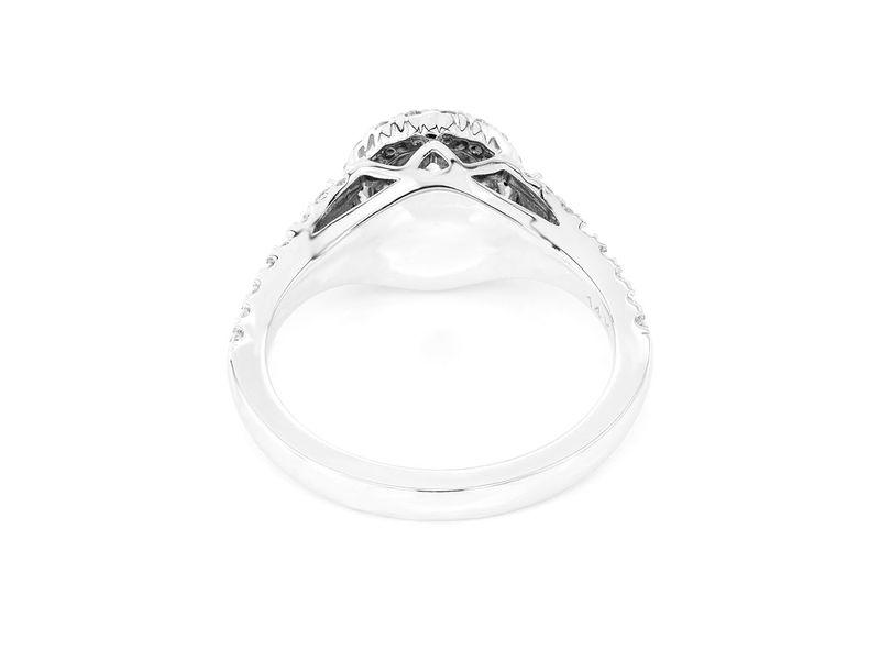 Round Double Halo Ring 14K   0.77ctw