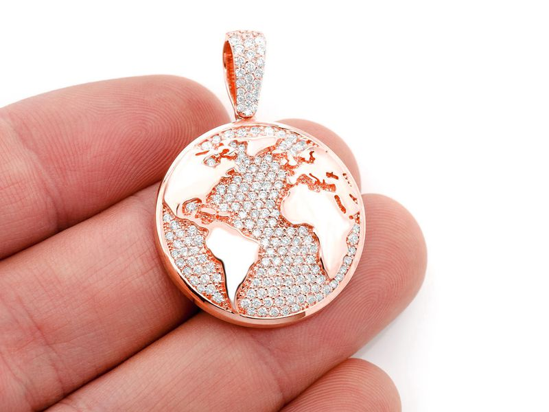 World Globe Pendant 14K   1.37ctw