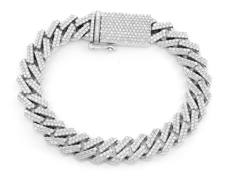 12mm Jagged Cuban Chain Bracelet 14K   8.41ctw