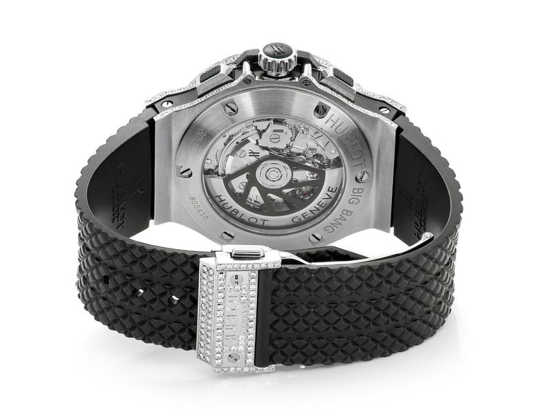 Hublot Big Bang Black Strap & Diamond Bezel Black Dial 5.00ctw SS