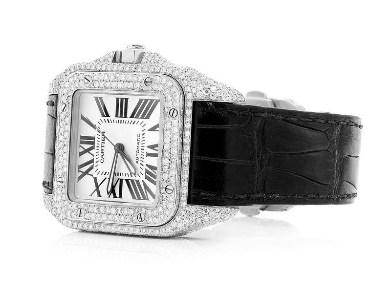 Cartier Santos Black Strap Steel  11.73ctw