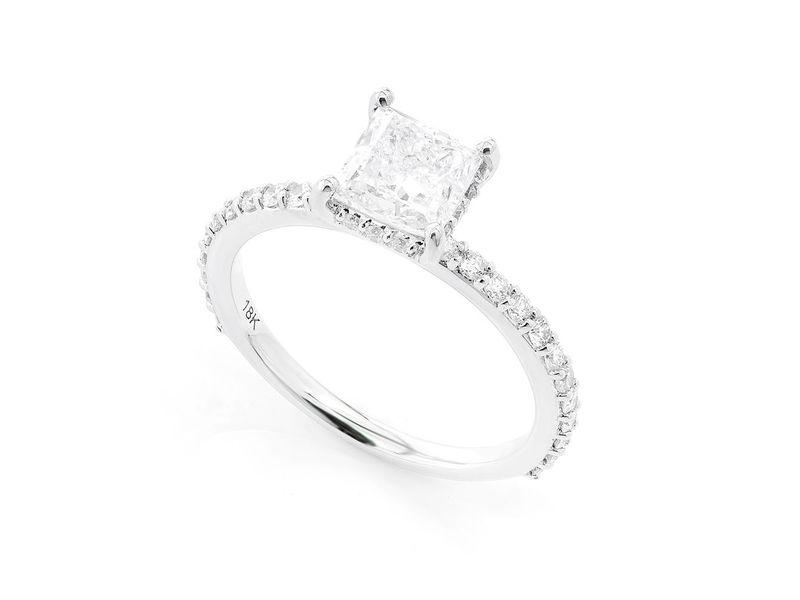 Princess Cut Under Halo Engagement Ring 18K   1.64ctw