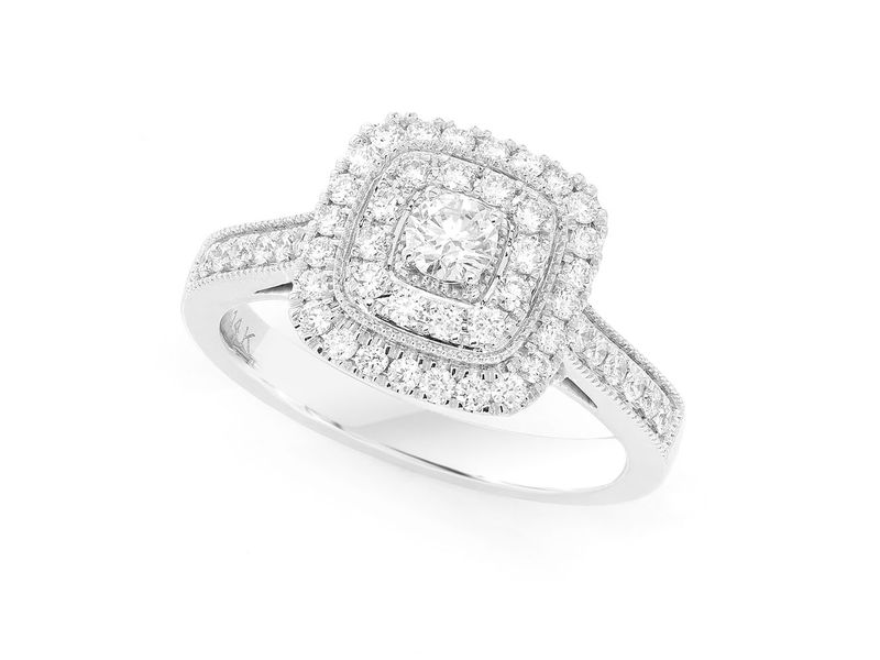 Cushion Two Tier Halo Ring 14K   0.74ctw