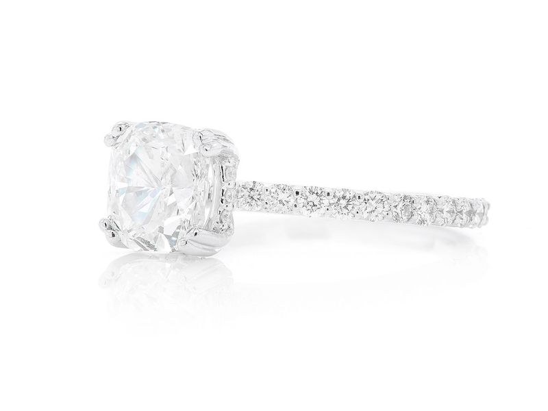 Cushion Cut Under Halo Engagement Ring 14K   2.22ctw