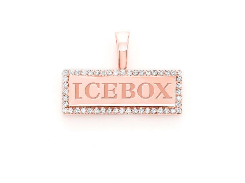 Icebox Bar Logo Pendant 14K   0.25ctw