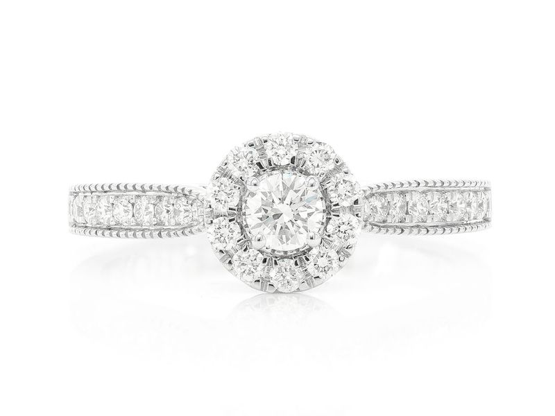 Double Layer Round Halo Engagement Ring 14K   0.57ctw