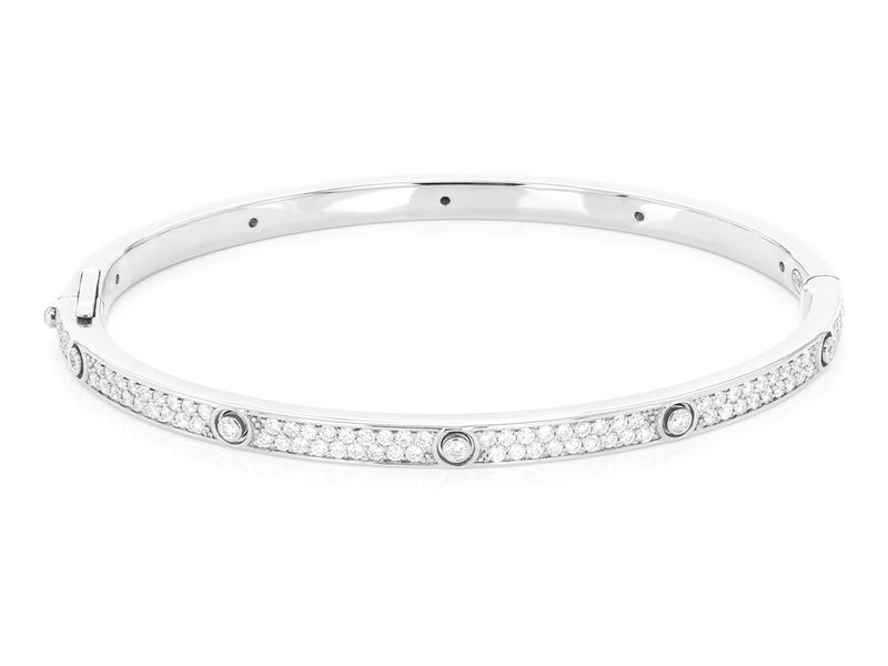 Thin Signature Bangle Bracelet 14K   2.35ctw