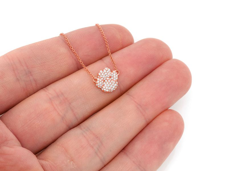 Dog Paw Bubbly Mica Collection Pendant 14K   0.37ctw
