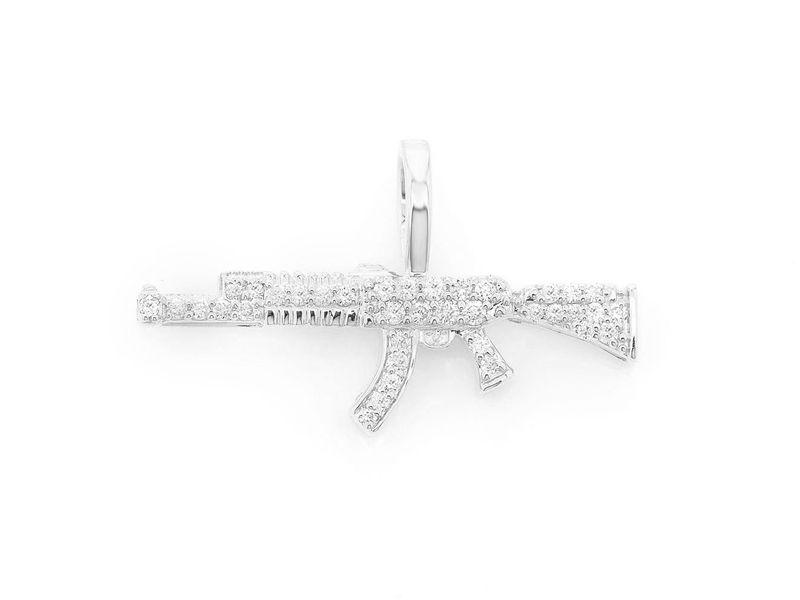AK47 Gun Pendant 14K   0.15ctw