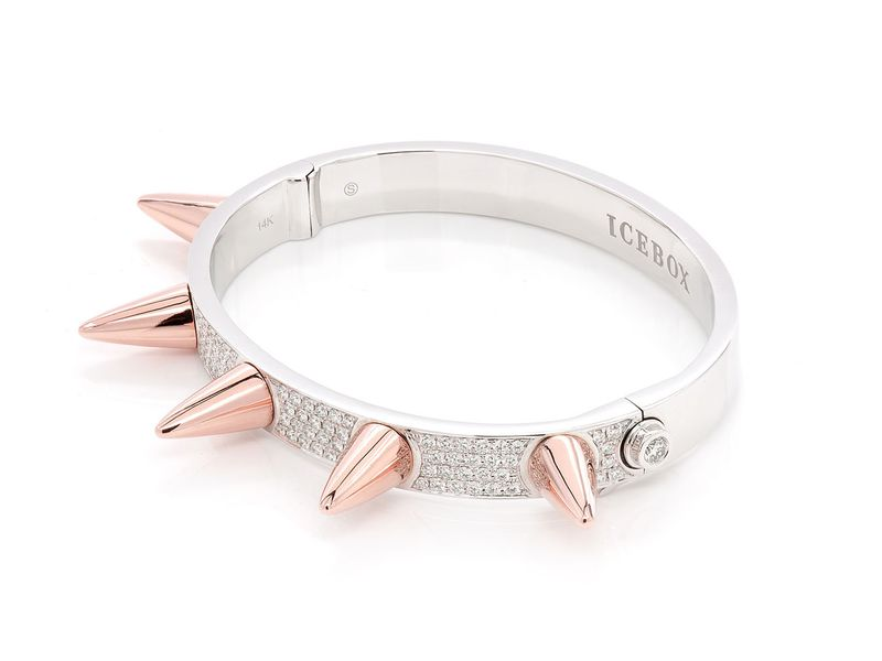 Small Spike Bangle Bracelet 14K   1.57ctw