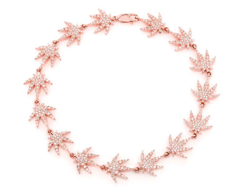 Weed Leaf Bracelet 14K   1.86ctw