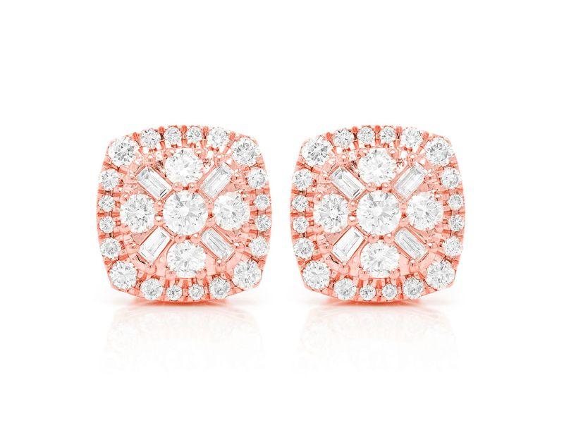 Baguette Flower Stud Earrings 14K   1.05ctw
