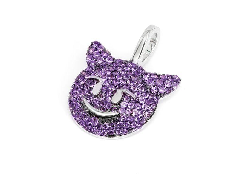 Purple Devil Emoji Pendant 14K   0.71ctw