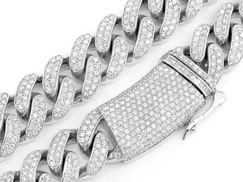 Diamond Cuban Necklace 14K   44.36ctw