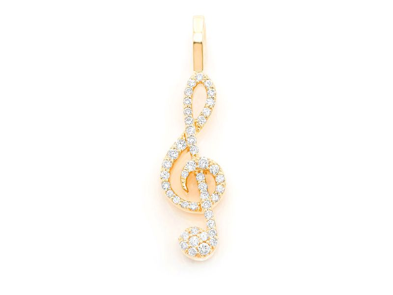Treble Clef Music Note Pendant 14K   0.25ctw