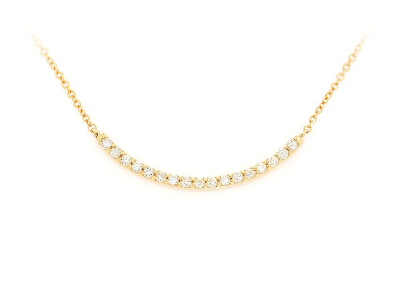 Doris Curved Bar Pendant 14K   0.13ctw