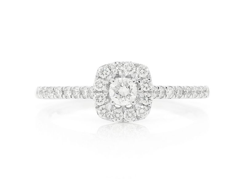 0.45ctw Double Layer Square Engagement Ring 14K