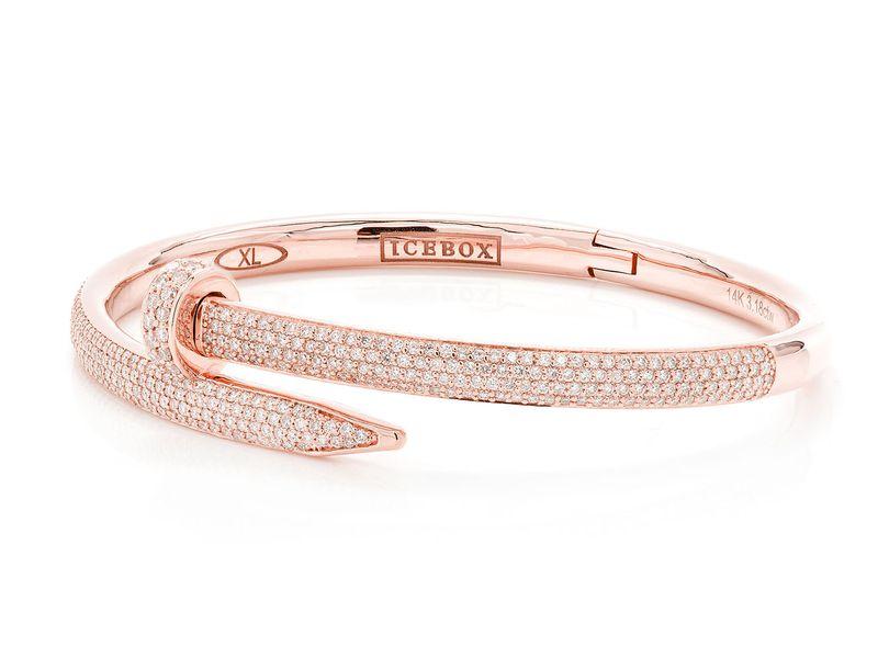 Extra Large Nail Bangle Half Diamond Bracelet 14K   3.18ctw