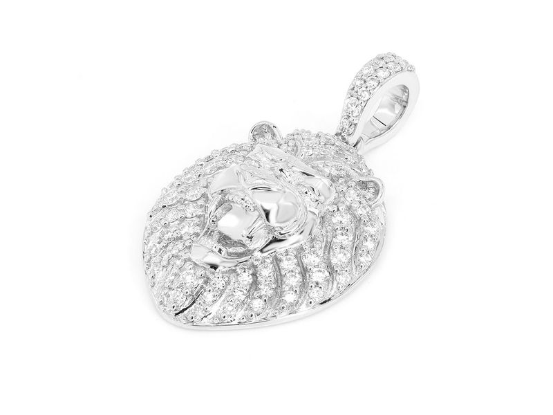 Striped Piped Lion Pendant 14K   0.47ctw