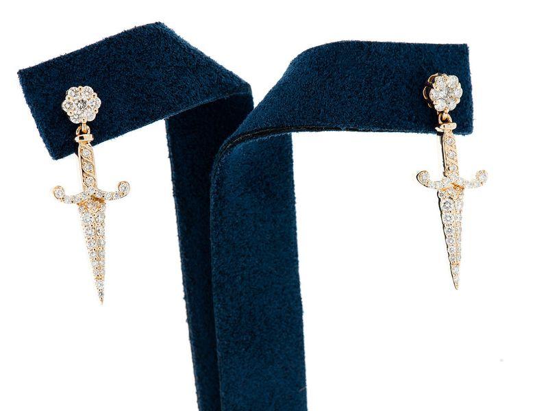 Ancient Sword Dangling Earrings 14K   0.70ctw