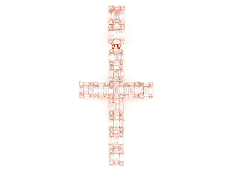 Baguette Cross Pendant 14K   1.25ctw