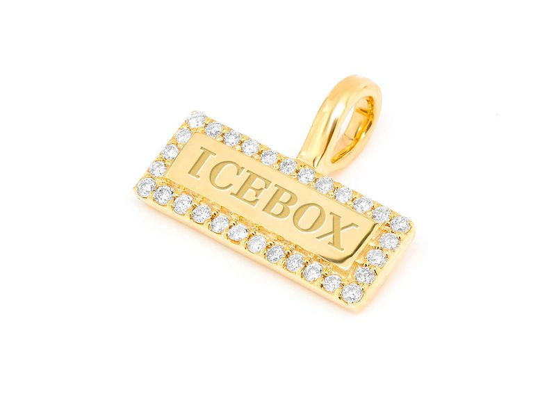 Icebox Bar Logo Pendant 14K   0.11ctw