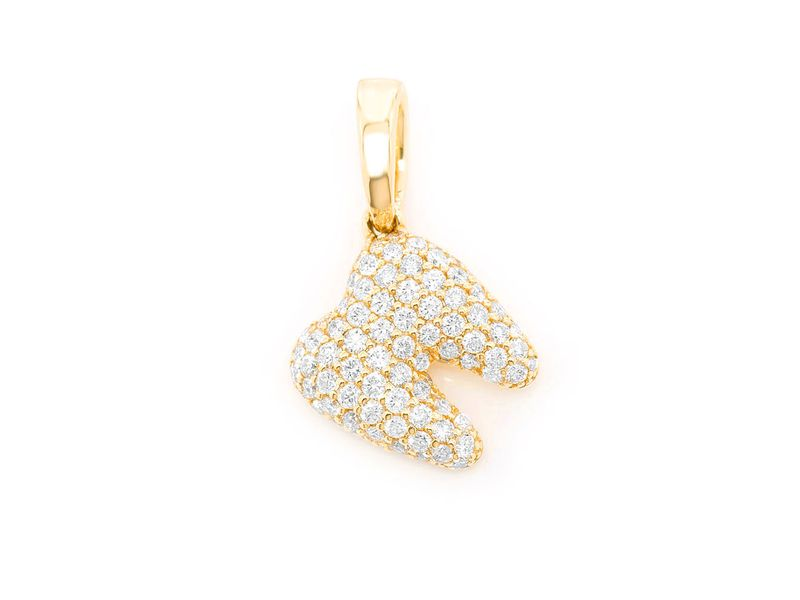 Diamond Tooth Dental Pendant 14K  0.59ctw