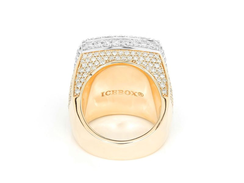 Two-Tone Step Double Halo Signet Ring 14K   6.95ctw