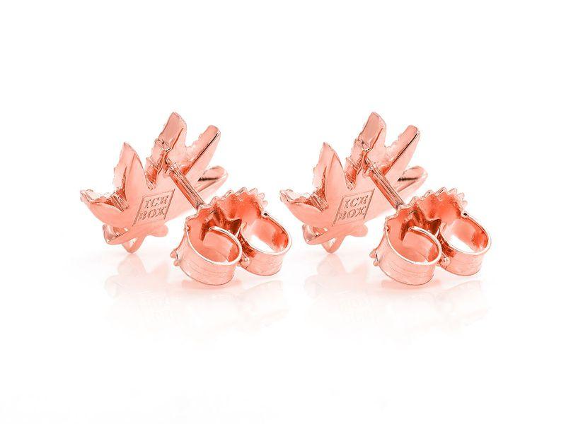 Weed Leaf Earrings 14K   0.42ctw