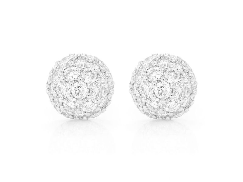 Ross Dome Pave Stud Earrings 14K   0.44ctw