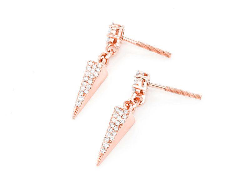 Pyramid Dangling Earrings 14K   0.65ctw