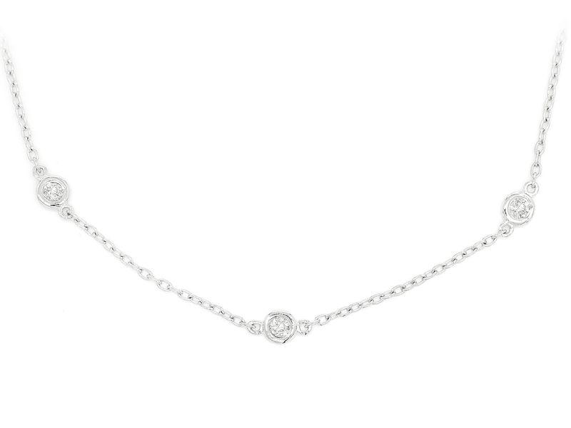 Round Bezel Set Link Necklace 14K   0.75ctw