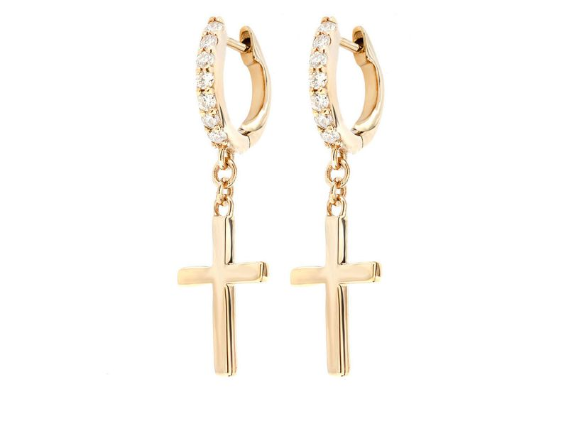 Cross Hoop Earrings 14K   0.15ctw