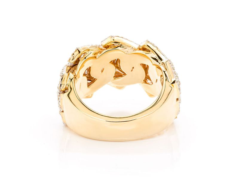 Two Row Baguette Jagged Cuban Ring 14K   2.30ctw