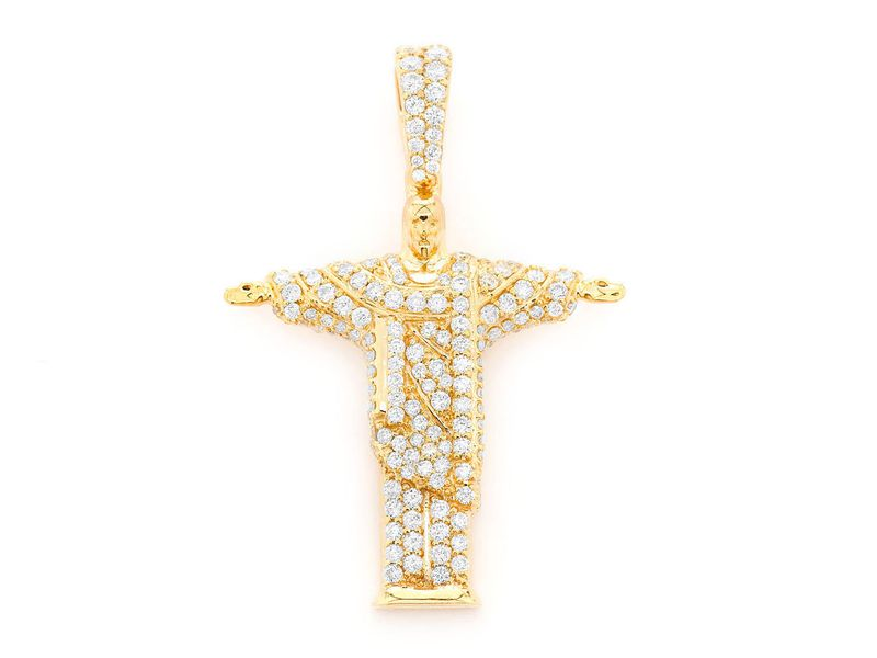 Christ The Redeemer Pendant 14K   1.11ctw
