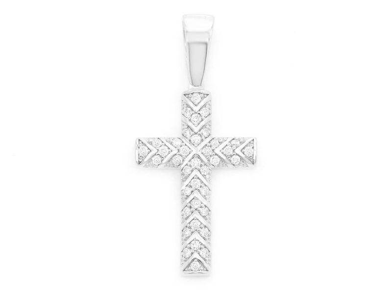 X Design Cross Pendant 14K   0.52ctw