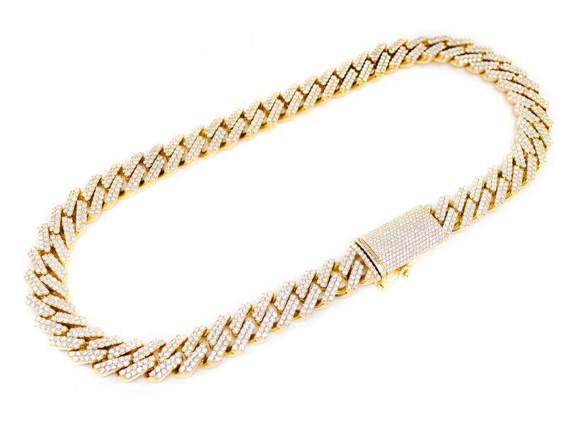 Raised Diamond Cuban Necklace 14K   52.79ctw