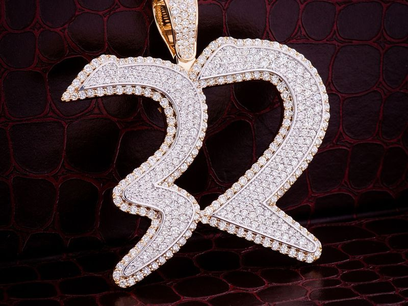 Custom Double Layer Diamond Pendant 14K